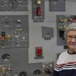 Resident Ruby James is standing by one of the TWA flight school operating boards. This is where pilots would be assigned problems in which they would have to correct them with the plane instruments and gauges...Ruby said