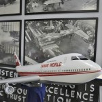This is a miniature Boeing 747 plane that would have been the crowning gem of TWA's airplane fleet. In the back you can see some of the earlier planes being built as early as the 1930's, with one of the pictures featuring Howard Hughes assisting on the build!