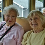 Residents Dorothy Erickson and Muriel Langewisch pose for a picture together.