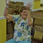 Resident Bessie Kastl got a third strike in a row during her tenth frame to get a