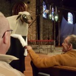 That's right...fist bumping a sheep! That would be resident Bob Whalen!