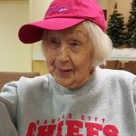 So this is what Dorothy looks like when she is cheering the Chiefs on...in real life. She waited with baited breath to throw her foam Kansas City Chiefs