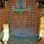 This fountain still carries traces of the minerals that once flowed through the openings of the lions head.