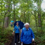 Resident Helen Lohss is leading the pack as we peek at our halfway point on the nature hike!