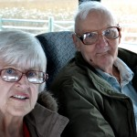 Resident Dorothy Frederick and Charles Elias enjoy the wildlife ride along tour in our bus.