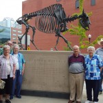 The Residents gathered around the American Bison statue which used to roam freely in the Western part of Missouri and the Great Plains area.