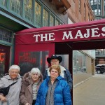 The group gathers outside the Majestic for a picture in front of this historic building. Pictured: (left-to-right) Helen Lohss, Dorothy Frederick, Marsha Leizer, and Chuck Couch (Back).
