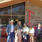 The group poses for a picture in front of Fritz's! (left-to-right): Chuck Couch, Bill Fann, Beverly Fann, June Higgins, and Marsha Leizer.