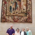 The gang poses underneath a medieval tapestry in the hall of columns. (Left-to-Right): Jody Lewis, Margaret Gill, Marsha Leizer, Sharon Craney.