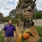 Driver Jody Lewis poses with his favorite sculpture, winter, to many faces of the residents mimicking the facial expression of the sculpture... it was comical!