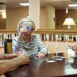 Pictured: (Left-to-Right) Residents Richard Backhus, Carolyn Harbaugh, and Pat Brown play a tight fisted game of Pinochle!