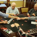 Pictured: (Left-to-Right) Residents Chuck Couch, Don Marker, Ralph Ireland, Barbara Tice and Bob Tice play a high stakes game of Texas Hold'em as part of their Watermark University class taught by resident Chuck Couch!