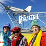 The gals hanging out in front with the historic DC-3 plane at The Roasterie!