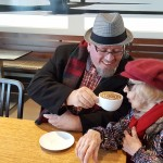 Left-to-Right: Jody Lewis (Driver) and resident Dorothy Erickson enjoy a delicious mocha latte!
