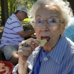 Louise enjoys her scrumptious picnic favorites...she was especially a fan of the kettle cooked chips!