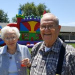 Louise Humphreys (Left) and Ralph Ireland (Right) enjoy their time at the bounce house with family and friends...they give it an A+ for FUN!