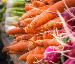 Carrots in a Farmers Market Stall