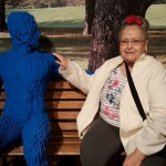 It's the first time I've sat next to a strange man in the park before...let alone a blue man before, Mary Louise said with a smile and a laugh!
