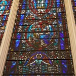 The beautifully adorned stained glass brought beautiful colors filling the walls of the sanctuary.