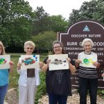 (Left-to-Right): Rhonda Holler, Carol Tracy, Amy Umsted, Alice Shelor, and Jennie Woolworth are showing off their recent Gyotaku prints at Burr Oak Woods.