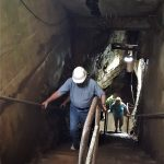 Richard Brown making the final haul back up to surface level from the top tier of the mine following the path of the old mule tunnel, which was used to operate the mine in the 1800's. The temperature from mine to top surface was nearly 25 degrees Fahrenheit.